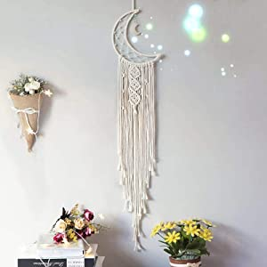 Clife Handmade Moon Design Woven Cotton Dream Catchers Cotton Tassels, Boho Macrame Wall Hanging Home Decoration Ornament Craft Gift for Apartment Bedroom Living Room(silver moon)