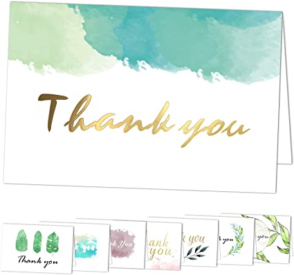 Thank You Cards Baptism Thank You Card Garden Greens Printed Folded Cards Bridal Shower Thank You Cards Wedding Thank You Cards