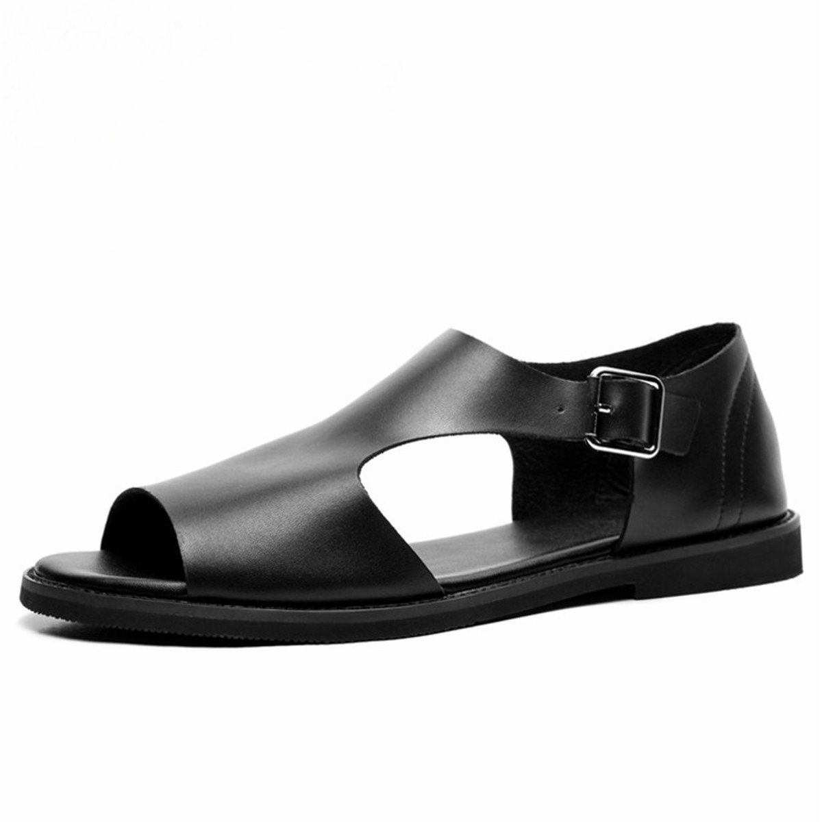 outlet store d4b05 16cd7 Nutsima Summer Men s Sandals Sandals Sandals Leather Simple Black  Comfortable Men Beach Shoes Gladiator Open-Toed Sandals Men 6.5 D(M) US Black  B07CVBR814 ...