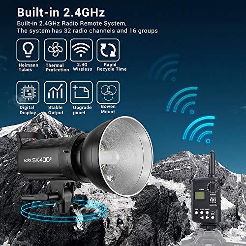 Godox SK400II Studio Strobe 400Ws GN65 5600K Bowens Mount Monolight, Built-in Godox 2.4G Wireless System, 150W Modeling Lamp, Outstanding Output Stability, Anti-Preflash, 1/16-1/1 40 Steps Output by Godox (Image #1)