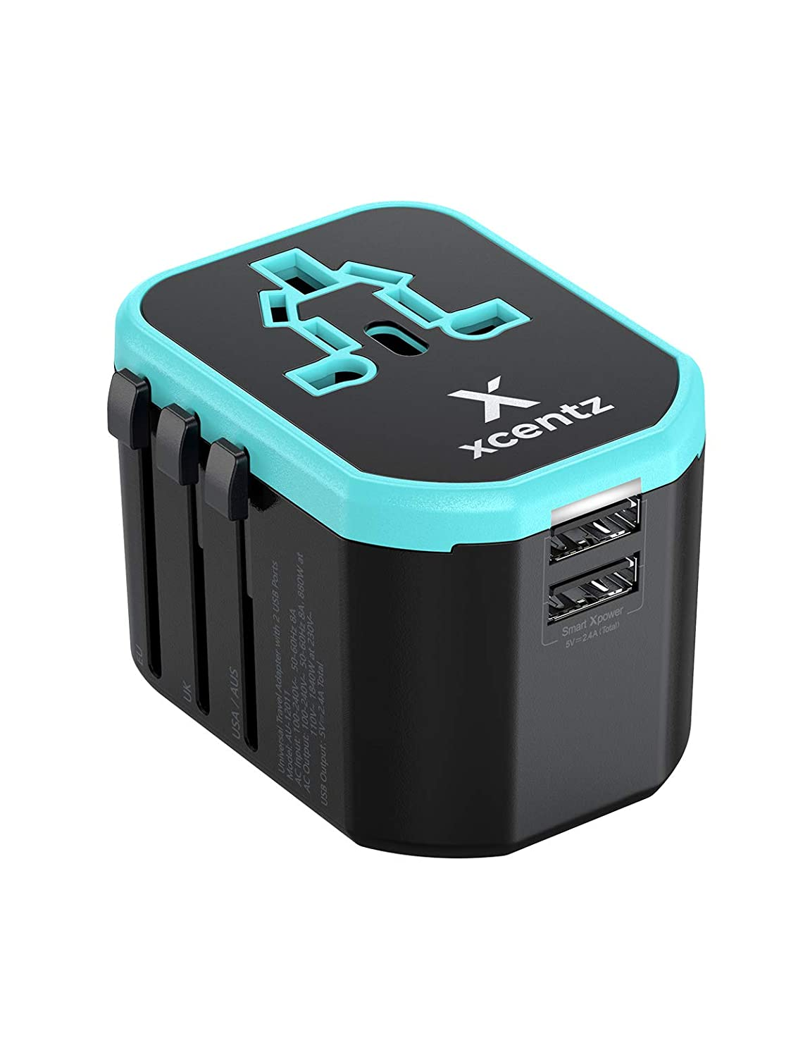 Xcentz Universal Travel Power Adapter International All in One Worldwide Travel Adapter Wall Charger AC Power Plug Adapter with Dual USB Ports for US EU UK AUS European Cell Phone Laptop