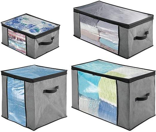 mDesign Juego de 4 cajas organizadoras de tela de distintos ...
