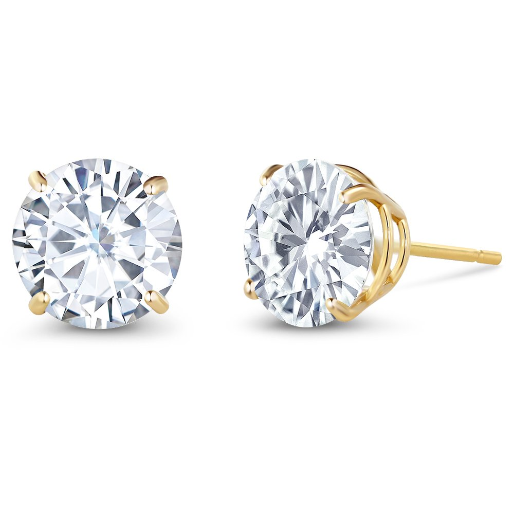 Charles & Colvard 3.00 ctw Round Moissanite Stud Earrings in 14K Yellow Gold