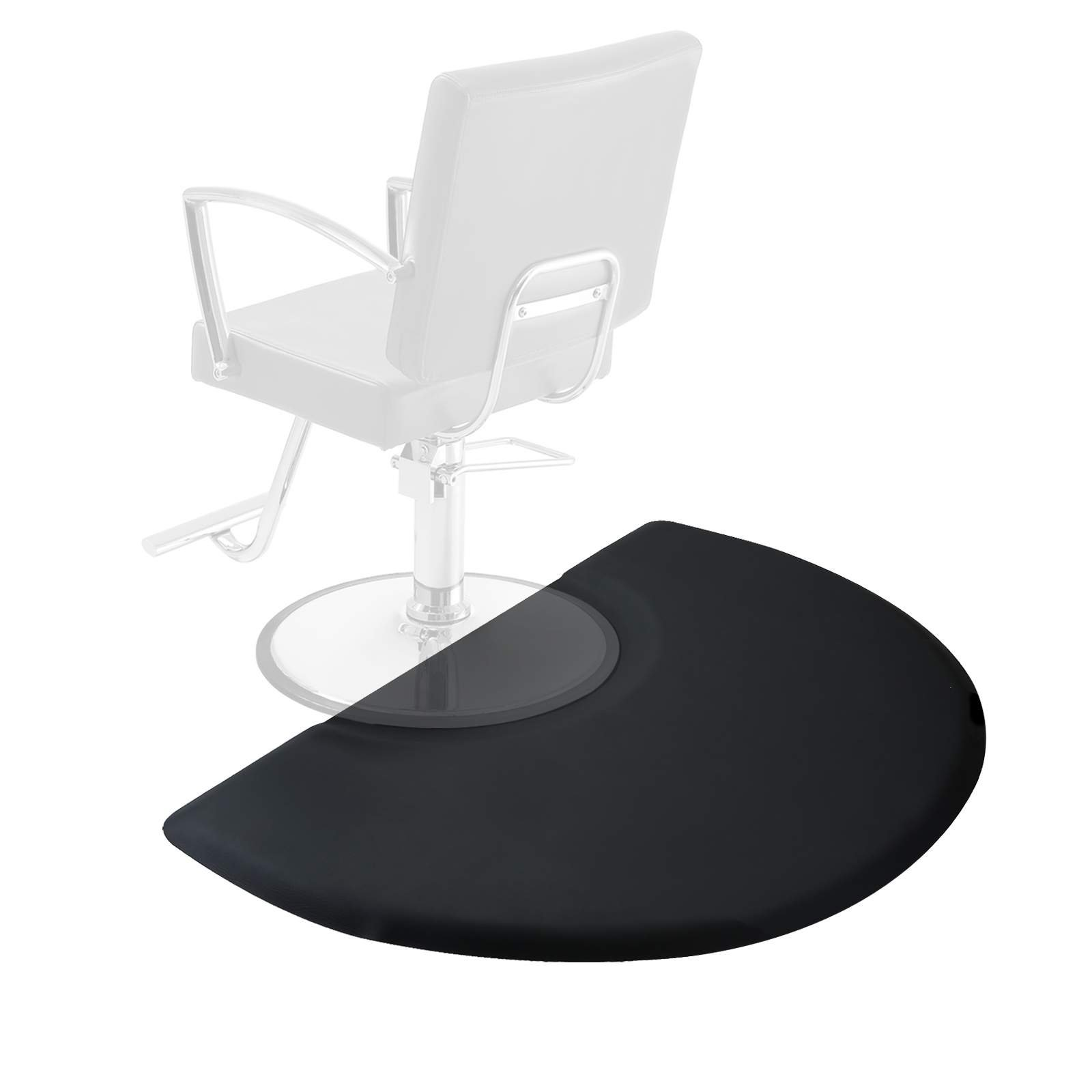 Saloniture 3 ft. x 4 ft. Salon & Barber Shop Chair Anti-Fatigue Mat - Black Semi Circle - 5/8 in. Thick