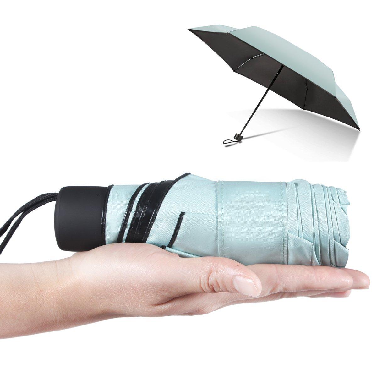Mini Compact Travel Umbrella Outdoor Portable Sun Rain Umbrella UV Protect Mint Green