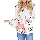 VEMOW 2018 Women Spring and Summer New Casual Floral Printing Long Flare Sleeve Tops T-Shirt Blouse