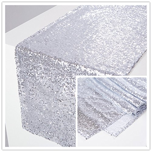Zdada Thanksgiving Day Sequin Tablerunner Sparkly Table Linens for Decoration-Silver 12