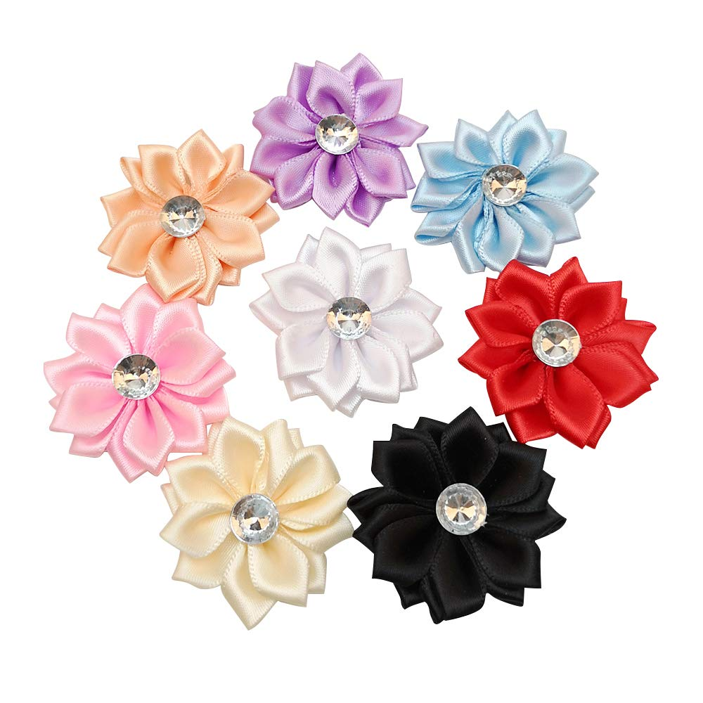 Chenkou Craft 40pcs Satin Ribbon Flower with Pearl Wedding DIY Appliques  (Multi)