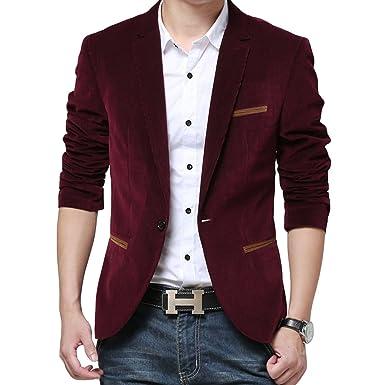 ca6e164d9a8e Costume homme Veste affaires mariage mince décontraction velours boutons  moderne Blazer blouson  Amazon.fr  Vêtements et accessoires