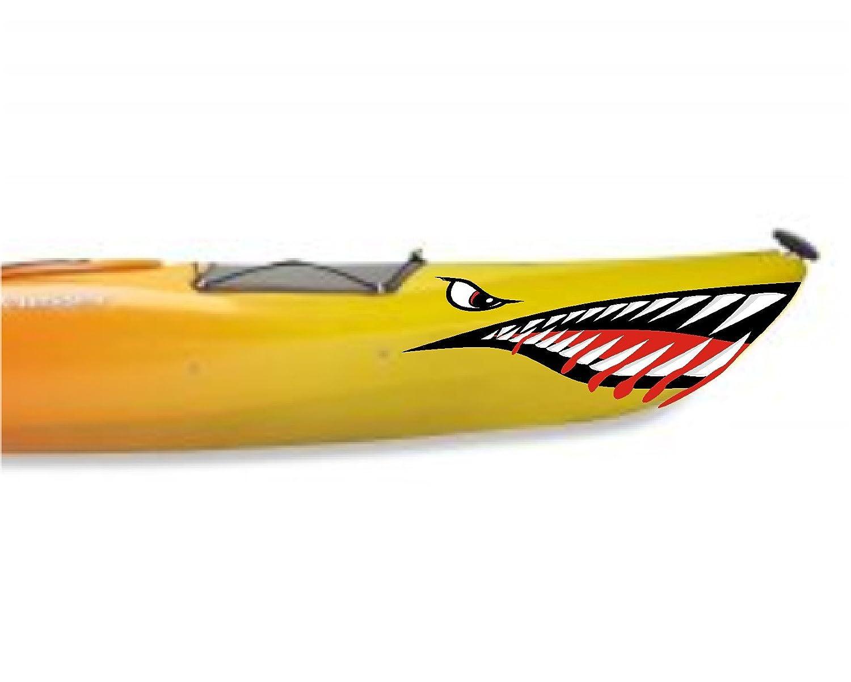 Amazon com shark teeth mouth decal stickers kayak canoe jet ski hobie dagger ocean boat a sports outdoors