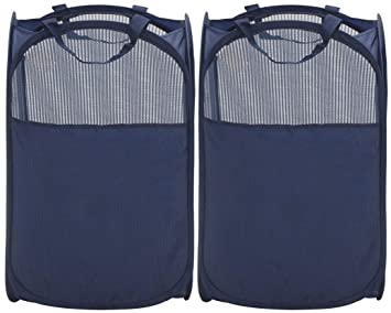 40adcb9337a6 STORAGE MANIAC Pop-Up Mesh Clothes Hamper, Foldable Laundry Hamper, Side  Pocket Durable Handles Enlarged Opening, 2- Pack