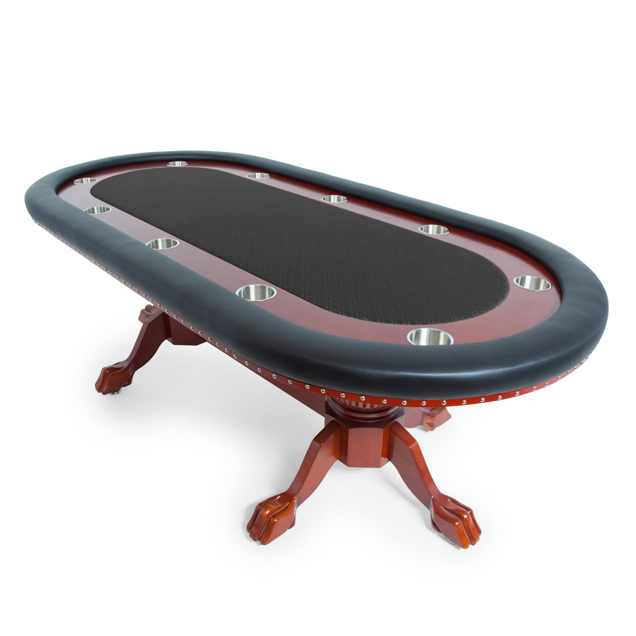 BBO Poker Rockwell Poker Table for 10 Players with Black Speed Cloth Playing Surface, 94 x 44-Inch Oval