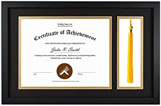 product image for flag connections Diploma Tassel Shadow Box 11x17.5 Frame for 8.5x11 Document/Certificate, with Double Mat (Black Over Gold), Tassel Holder & Real Glass, Black