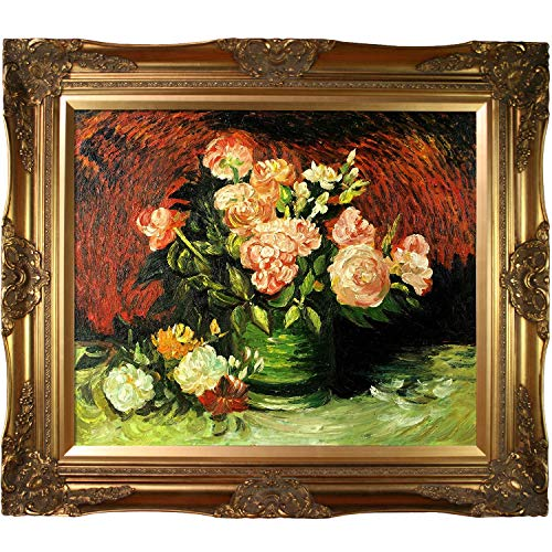 La Pastiche Bowl with Peonies and Roses with Victorian Gold Framed Oil Painting, 32