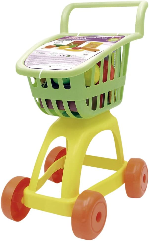 Tachan- Carrito supermercado con Alimentos, Color Verde/Amarillo (CPA Toy Group 1)