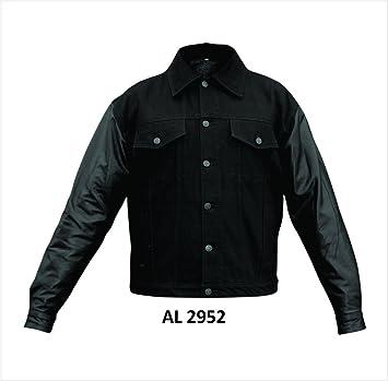 b65c44bc15a Mens Black 100% Cotton Denim Jacket W Lined Leather Sleeves AL-2952 ...