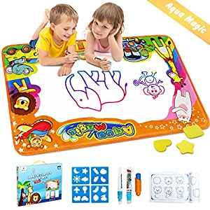 Betheaces Water Drawing Mat Aqua Magic Doodle Kids Toys Mess Free Coloring Painting Educational Writing Mats Xmas Gift…