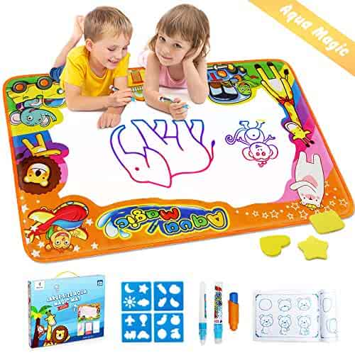 Betheaces Water Drawing Mat Aqua Magic Doodle Kids Toys Mess Free Coloring Painting Educational Writing Mats Gift for Toddlers Boys Girls Age of 2,3,4,5,6 Year Old Size 34.5