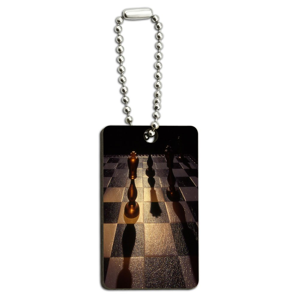 Chess Board Gold King Wood Wooden Rectangle Key Chain