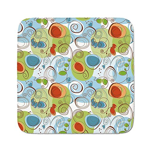 Blue Light Funky Flower (Cozy Seat Protector Pads Cushion Area Rug,Modern Decor,Floral Flowers with Geometrical Abstract Funky Swirls Image,Light Green Blue and White,Easy to Use on Any Surface)