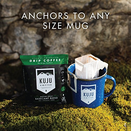 Kuju Coffee Pocket PourOver - Single Serve, Portable Pour Over Coffee - No Equipment Needed - Made with Ethically-Sourced Specialty Coffee - 10-pack   Basecamp Blend, Medium Roast by KUJU COFFEE (Image #1)