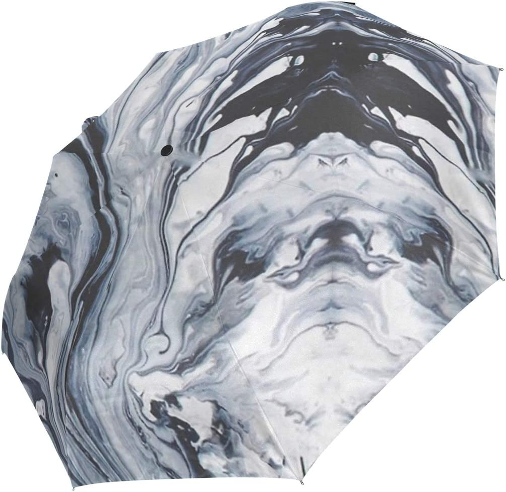 Black Ink Marble fashion print cute Windproof automatic tri-fold umbrella sun UV protection Sun umbrella