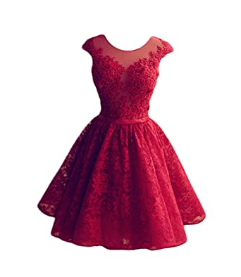 Lovelybride A Linie Kurze Rote Spitze Homecoming Kleid