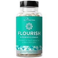 Flourish Probiotics + Prebiotics for Women – Gut & Digestion, Urinary Tract, Reduce...