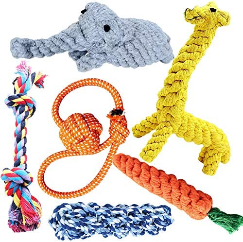 Dog Rope Toys 6 Pack Puppy Chew Toys Nearly Indestructible Knotted Teething Cleaning Dog Toy Set Tough Tug Toys Durable Tug of War Interactive Cotton Dog Toys for Aggressive Chewers Small Medium Dogs