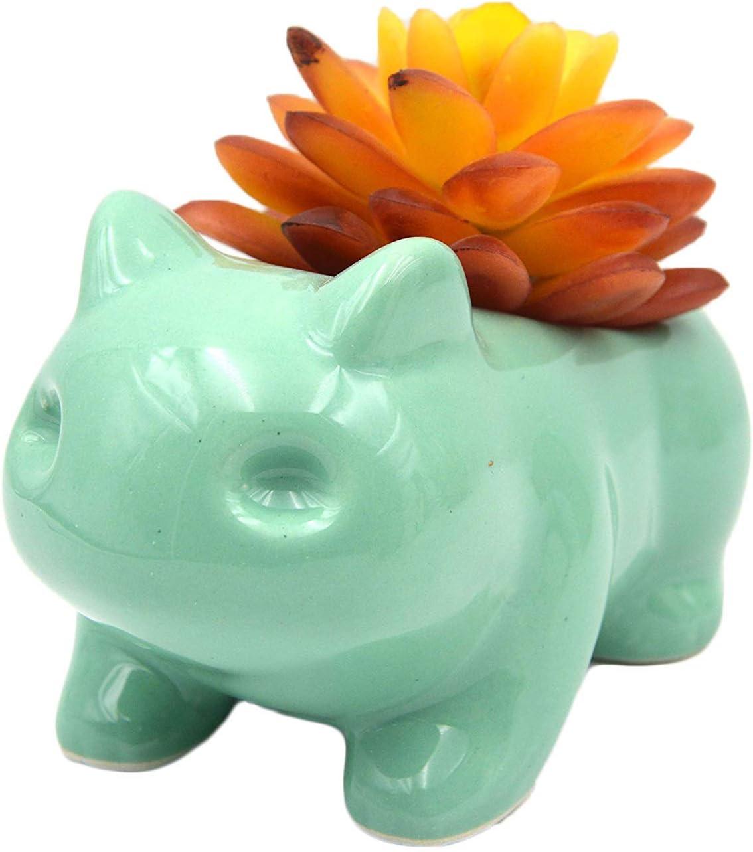 Ceramic Bulbasaur Flowerpot Planter Pot Home Decorative DIY Painting Art Vase(Green)