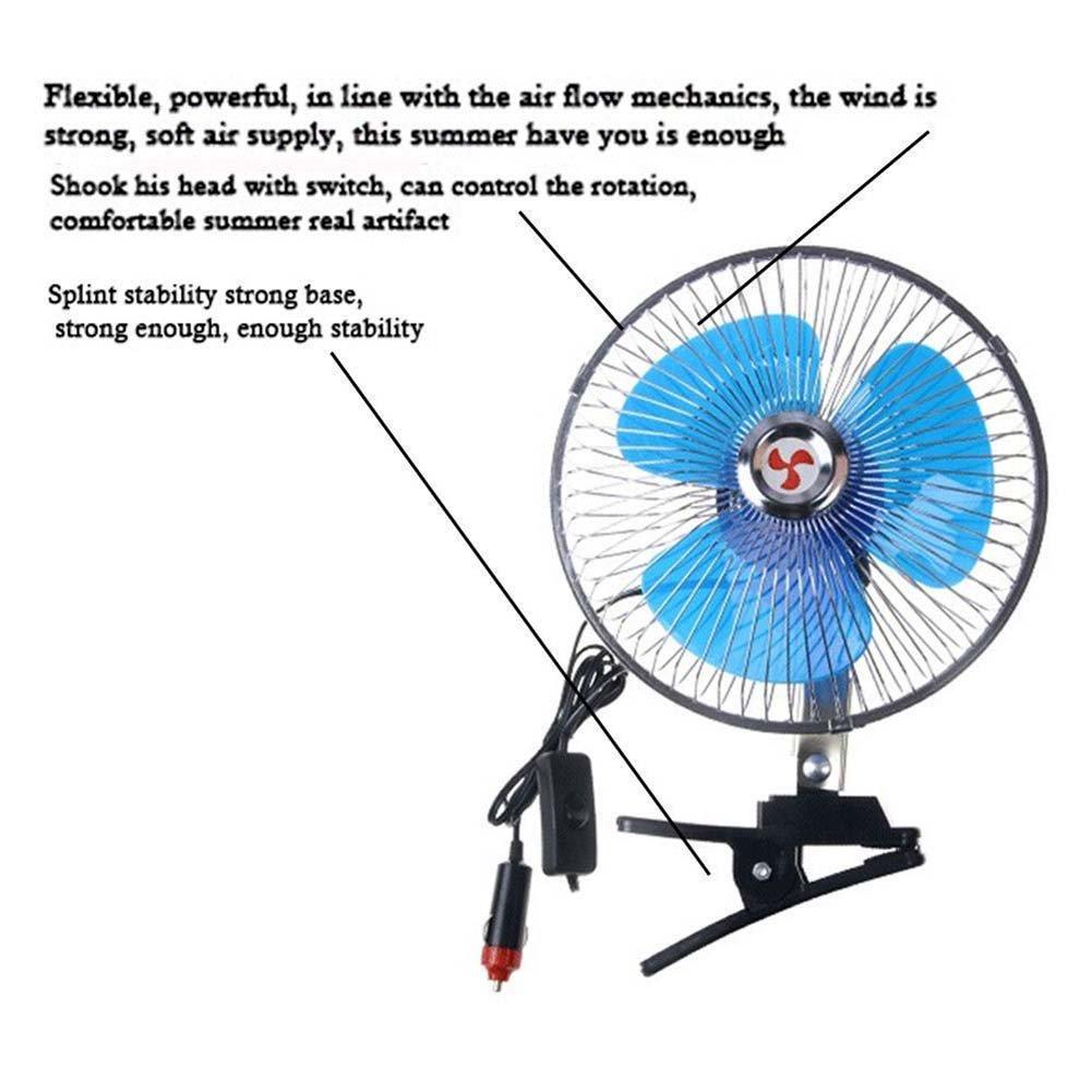 PerGrate perg Transferencia 8 Pulgadas 12 V Clip-on Auto Fan portá til Mini Vehí culo Enfriador Ventana Dashboard Ventilador oscilante
