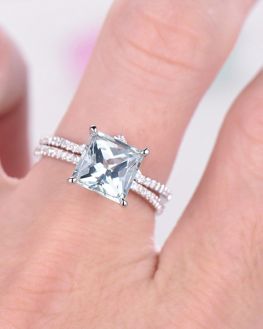 Amazon.com: Aquamarine Wedding Ring Set White Gold Princess Cut CZ ...