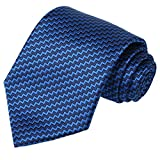 KissTies Blue Black Striped Extra Long Tie ZigZag Plaid Necktie + Gift Box(63'' XL)
