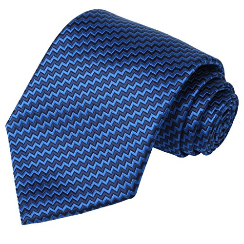 KissTies Blue Black Striped Extra Long Tie ZigZag Plaid Necktie + Gift Box(63'' XL) by KissTies
