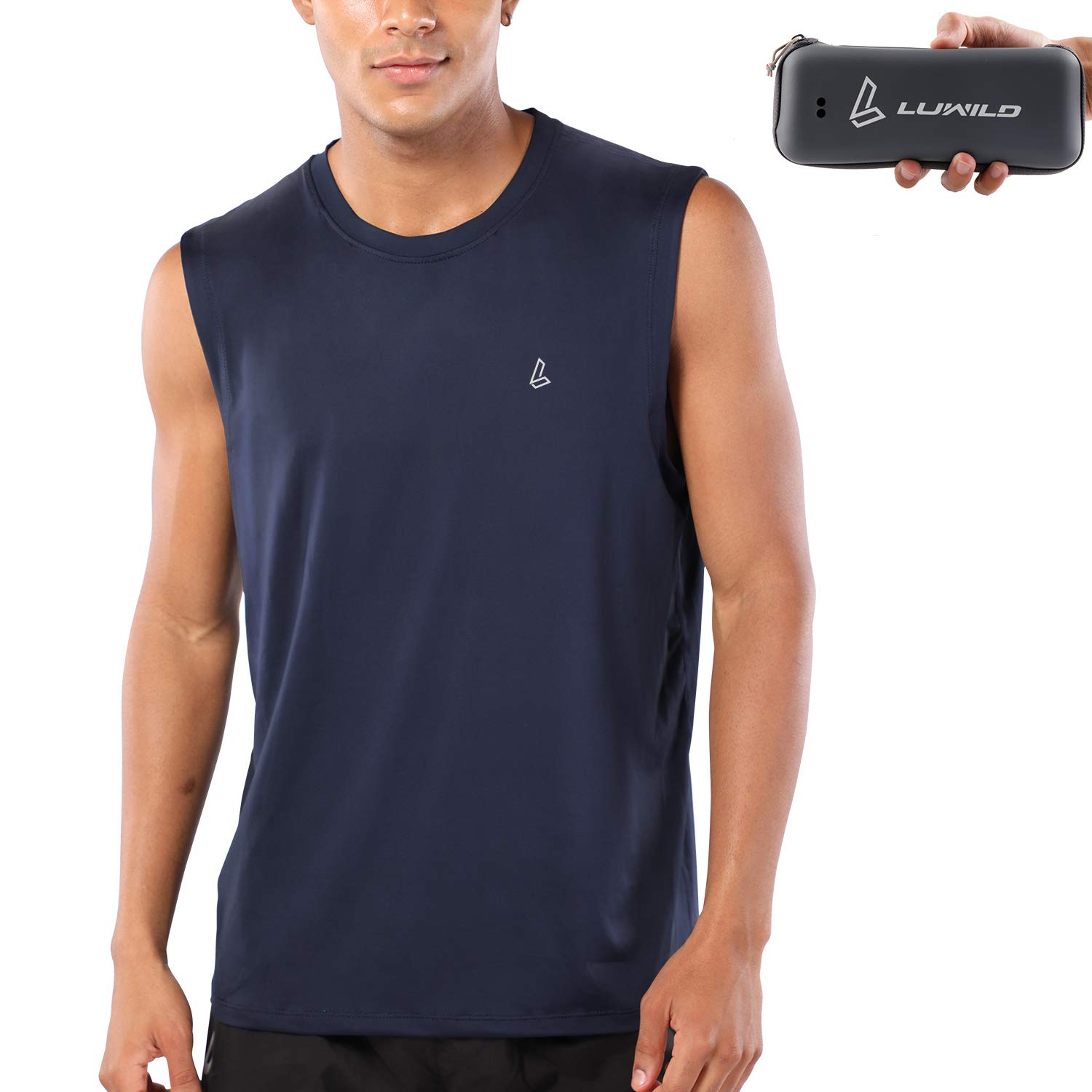 LUWILD Men's Sleeveless Workout Shirts Quick-Dry Basketball Muscle Tank Top with Portable Case by LUWILD