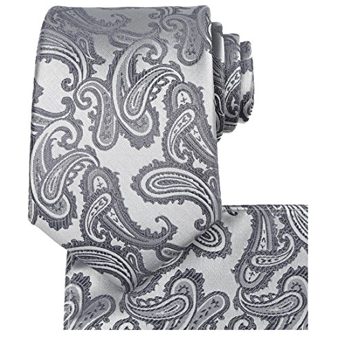 Mens Tie Set: Silver Gray Tie Paisley Necktie + Pocket Square