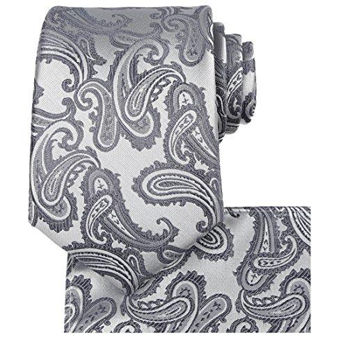 Mens Tie Set: Silver Gray Tie Paisley Necktie + Pocket Square (Grey Paisley Tie)