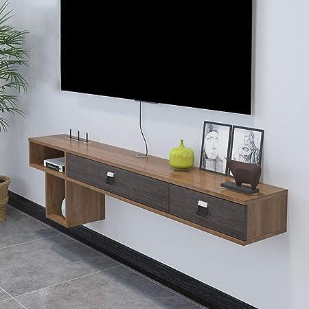 Estante flotante para montar en la pared, mueble de almacenamiento para TV, consola de televisión colgante,