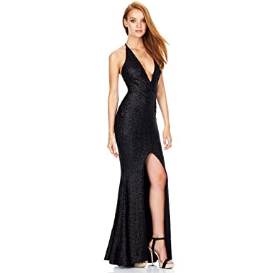 Women Glitter Mermaid High Split Slit Maxi Long Dress Backless Bodycon Sexy Deep V-Neck