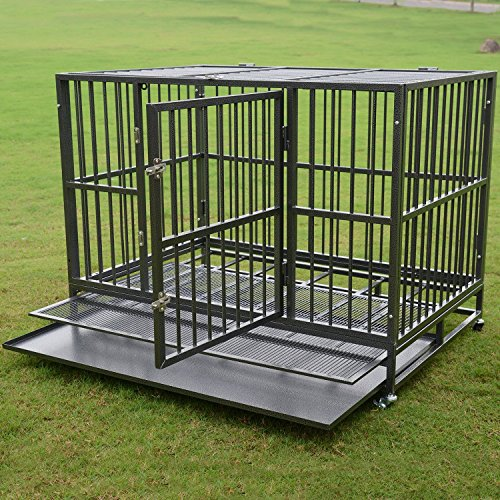 Heavy Duty 36/42/48 inch Dog Crate Strong Folding Metal Pet Kennel Playpen with Three Prevent Escape Lock, Large Dogs Cage with Four Wheels, Black - Dog Crate On Wheels Large
