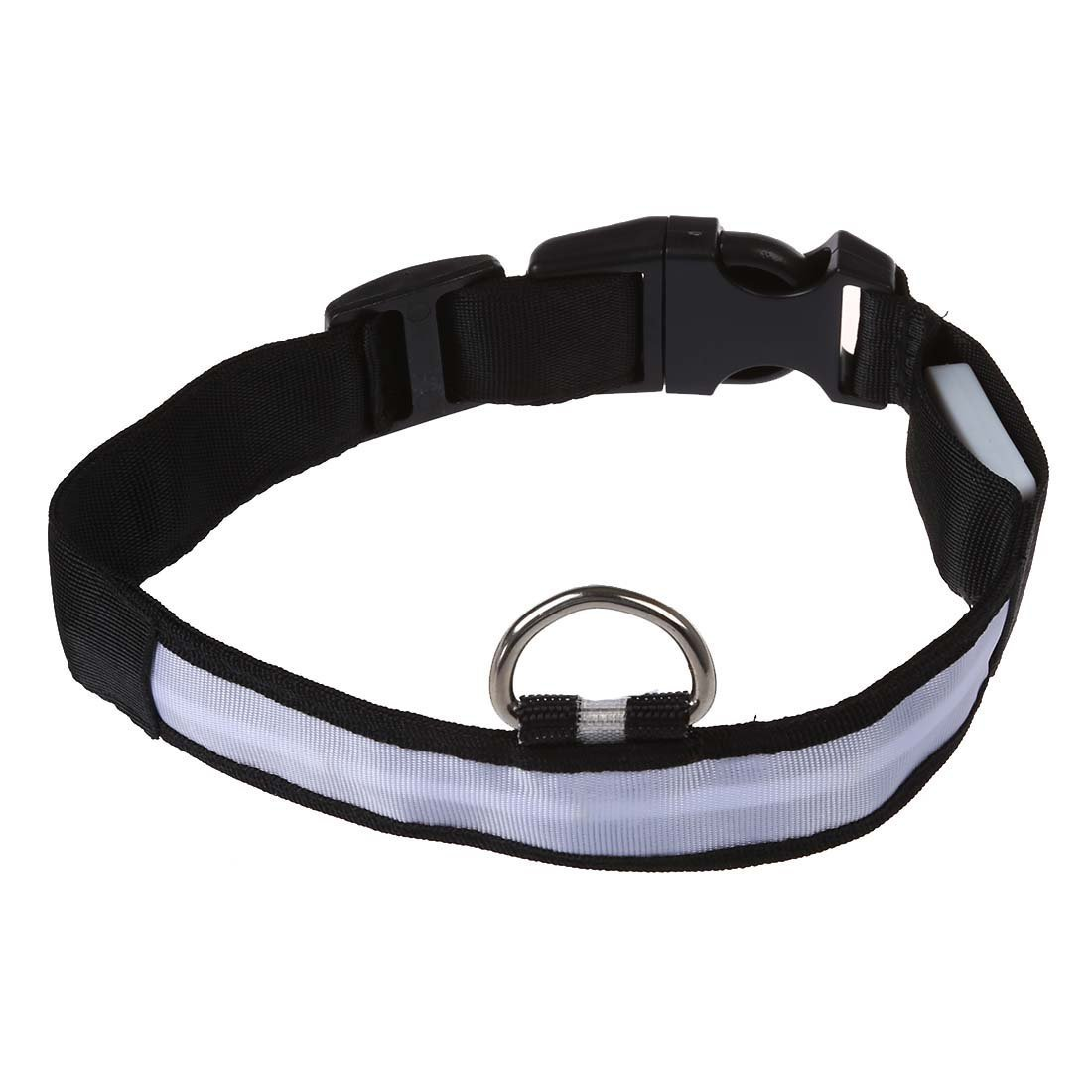 TOOGOO(R) Collare cane in nylon led lampeggiante luminoso regolabile sicurezza - bianco M