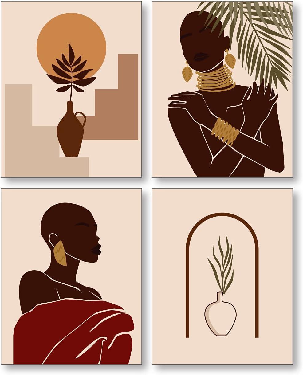 Confetti Fox African American Wall Decor, Abstract Vintage Retro Black Woman Fashion Pop Art, Ethnic Tribal Boho Female Melanin Girl Magic, Minimalist Modern Queen Beauty (8x10 Unframed Set of 4 Prints)