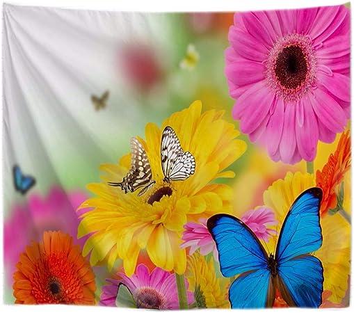 A.Monamour Tapices Primavera Temporada Flores De Colores Y Mariposas Jardín Naturaleza Paisaje Tela De Poliéster Tapices De Pared Tapices De Pared Decoraciones De Arte para Dormitorios 180x200cm: Amazon.es: Hogar