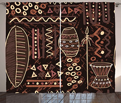 Ambesonne Brown Decor Curtains, African Ethnic Tribal Indian