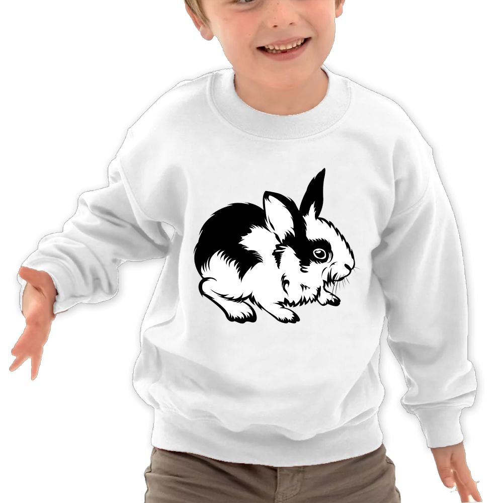 Anutknow Black White Rabbit Tattoo Design Childrens Round Neck Soft Hoodies Sweatshirt