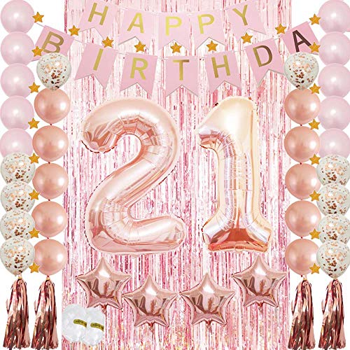 21st Birthday Decorations|21st Birthday Party Supplies Rose Gold-Confetti Latex Balloon,Tassel Garland,Tinsel Foil Fringe Curtains,Happy Birthday Banner as Gift, Favors,Photo Booth Props for Her Girl -