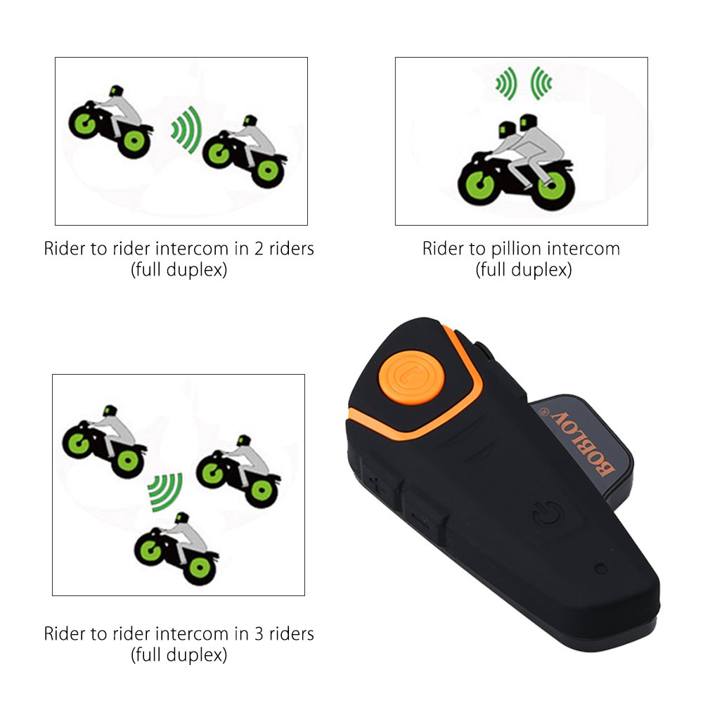 Bobov BT-S2 1000M BT casco de la motocicleta Auricular Bluetooth Intercom Moto Headset Intercom Interphone FM (Pack 2 with 2 sets Earphone): Amazon.es: ...
