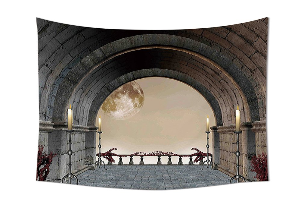 help me decorate my living room online renaissance style living room Gothic Decor Tapestry Middle Age Balcony of Stone Castle with Candles  Renaissance Inspired Vintage Design Wall Hanging for Bedroom Living Room  Dorm Grey