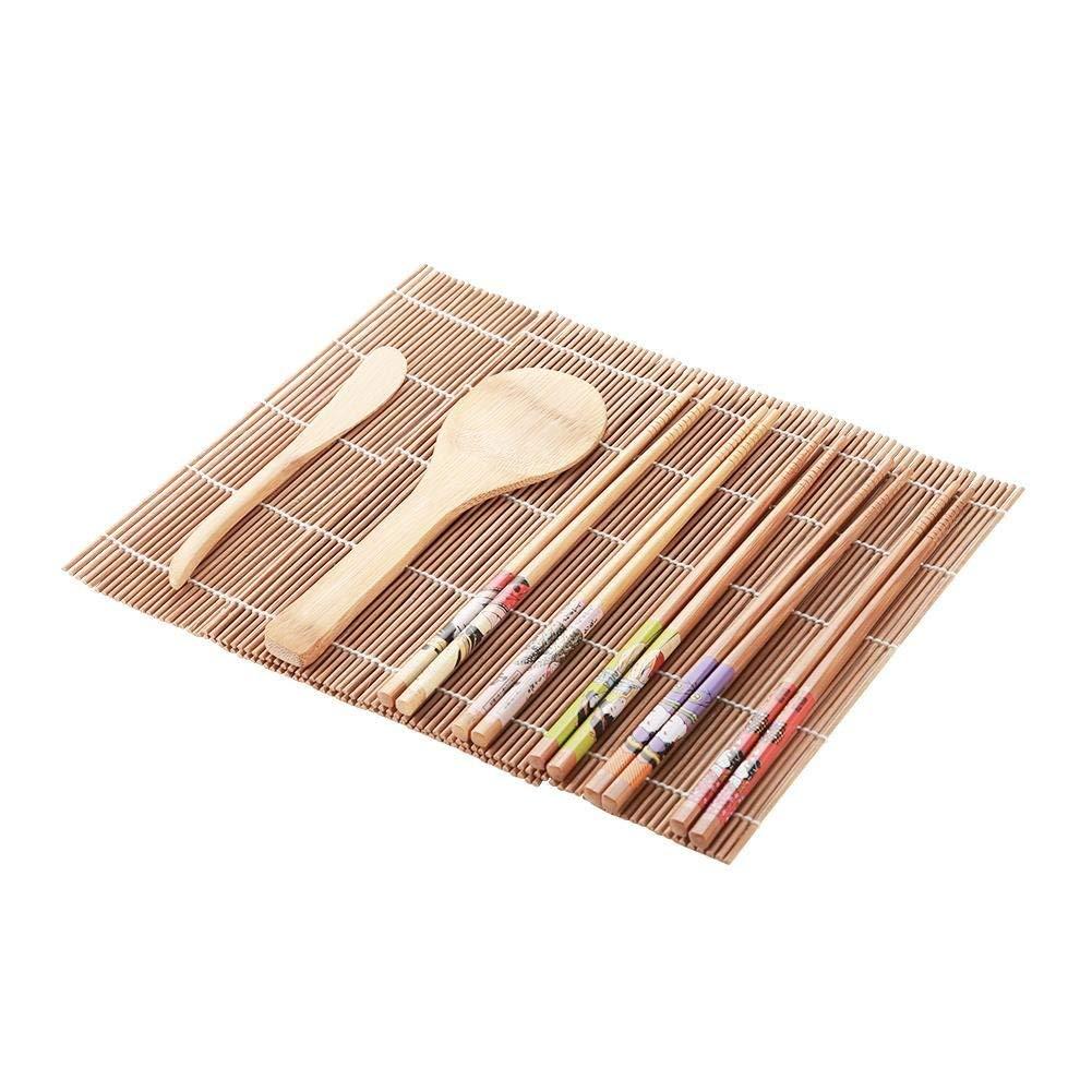 Natural Premium Bamboo Sushi Making Kit Family Office Party Homemade Sushi Gadget Sushi Making Kit 13Pcs//set