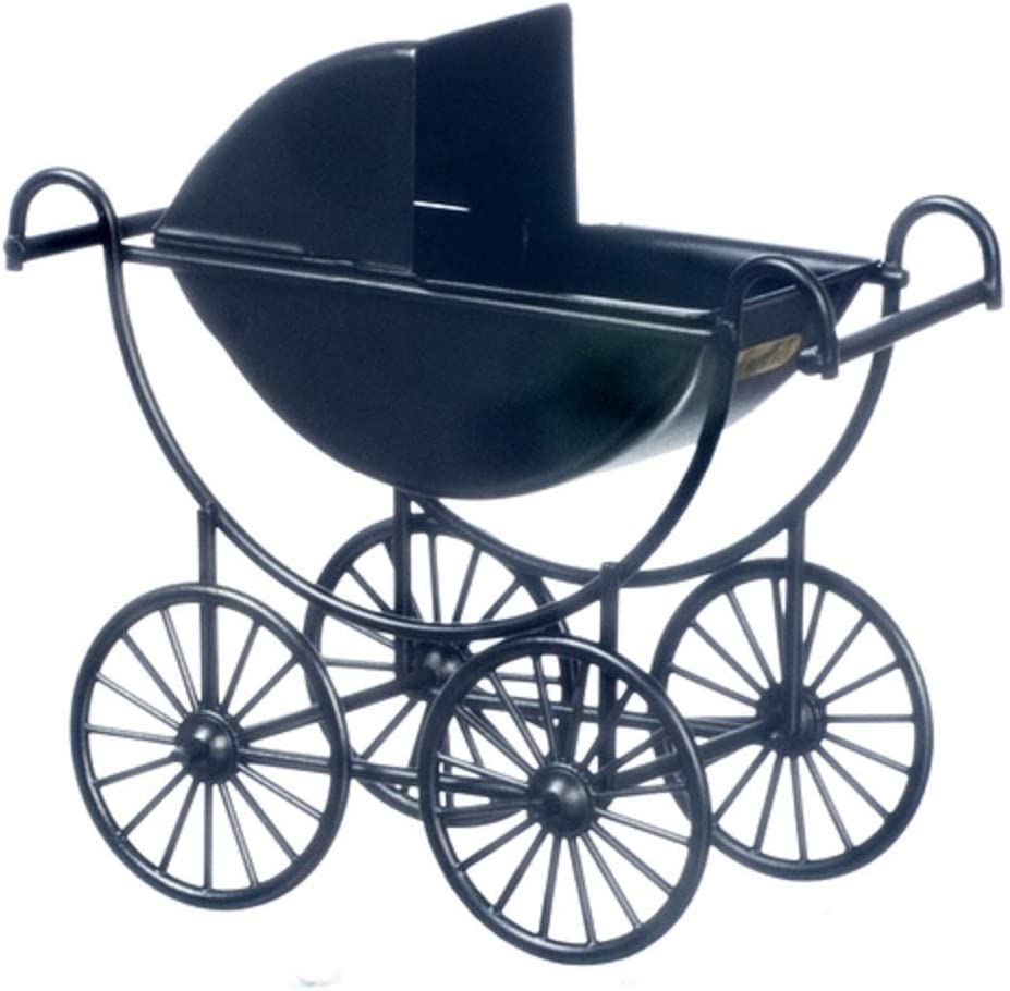 Dollhouse Miniature Black Baby Carriage
